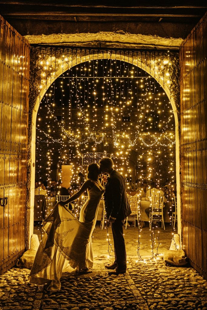 Fairylights light up these newlyweds at Son Berga