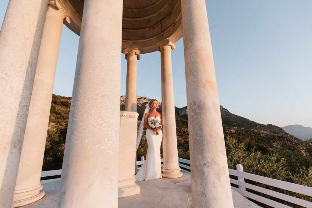 Bride enjoying her photo session at Son Marroig, Mallorca Weddings