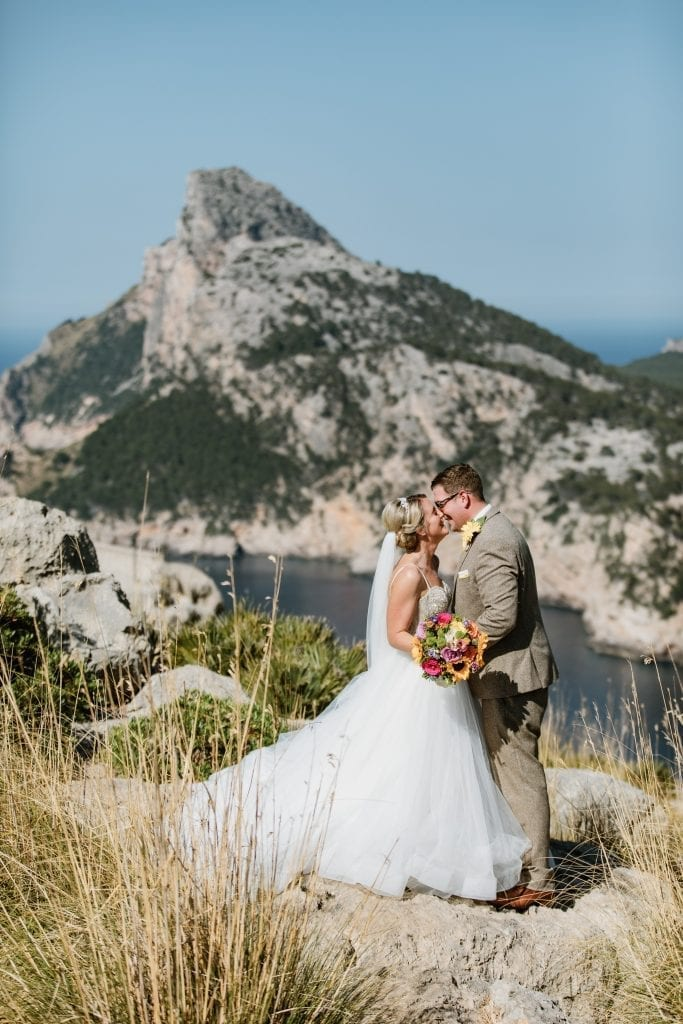 Newlyweds enjoying a moment at Cap Formentor photo shooting