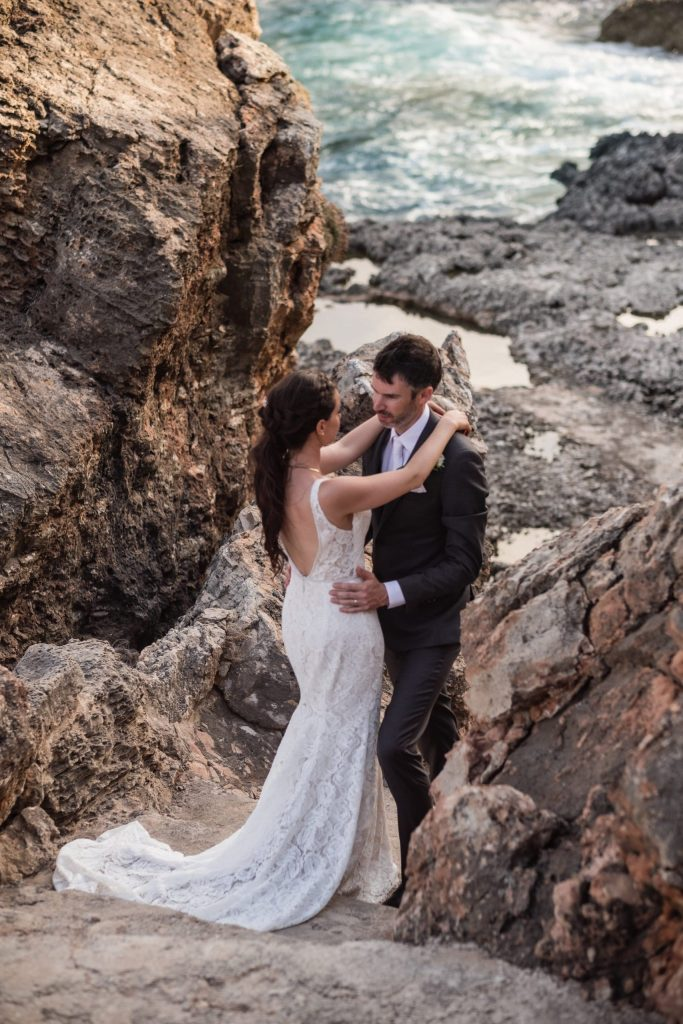 Bride and groom enjoy a quiet moment in nature after their mallorca finca wedding